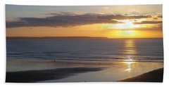 Saunton Sands Sunset Beach Towel by Richard Brookes