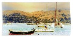 Sausalito Sailboats Beach Towel by Laura DAddona