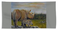 Savanna Overlook, Rhinoceros  Beach Towel