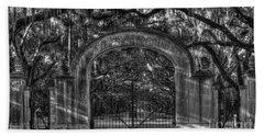 Beach Towel featuring the photograph Savannah's Wormsloe Plantation Gate Bw Live Oak Alley Art by Reid Callaway