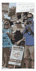 Beach Towel featuring the digital art Save Our Lagoon by Megan Dirsa-DuBois