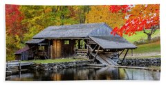 Sawmill Reflection, Autumn In New Hampshire Beach Sheet by Betty Denise