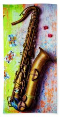 Sax And Old Playing Cards Beach Towel by Garry Gay