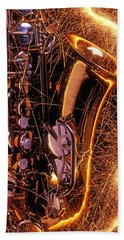 Sax With Sparks Beach Towel by Garry Gay