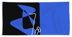 Beach Towel featuring the digital art Saxophone In Blue by Jazz DaBri