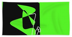 Beach Towel featuring the digital art Saxophone In Green by Jazz DaBri