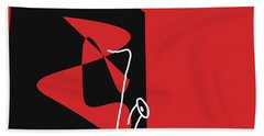 Beach Towel featuring the digital art Saxophone In Red by Jazz DaBri