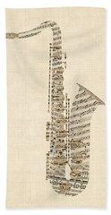 Saxophone Old Sheet Music Beach Towel