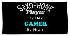 Saxophone Player By Day Gamer By Night 5623.02 Beach Towel