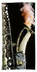 Saxophone With Smoke Beach Towel
