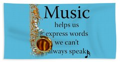 Saxophones Express Words Beach Towel