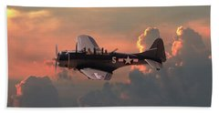 Beach Sheet featuring the digital art  Sbd - Dauntless by Pat Speirs