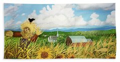 Scarecrow Farm Beach Sheet by Bonnie Siracusa