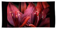 Scarlet Lilies Beach Towel