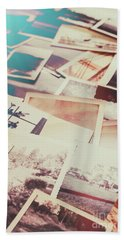 Scattered Collage Of Old Film Photography Beach Towel