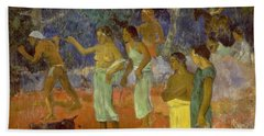 Scene From Tahitian Life Beach Towel by Paul Gauguin