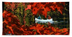 Scenic Autumn Canoe  Beach Towel by Sassan Filsoof