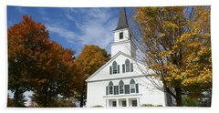 Scenic Church In Autumn Beach Sheet by Lois Lepisto