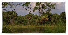 Scenic View Of Trees And A Pond Beach Towel