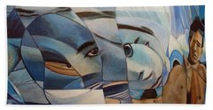 Beach Sheet featuring the painting Schizophrenia by Ron Richard Baviello
