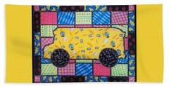 School Bus Quilt Beach Sheet by Jim Harris