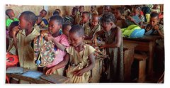 School Children In Class In Togo Beach Sheet by David Smith