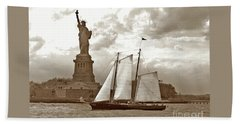 Schooner At Statue Of Liberty Twurl Beach Towel by Tom Wurl
