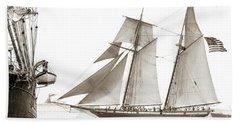 Schooner Lynx Full Sail Beach Towel