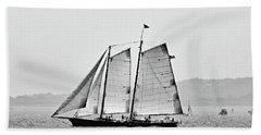 Schooner On New York Harbor No. 3-1 Beach Towel