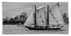 Schooner On New York Harbor No. 1-1 Beach Towel by Sandy Taylor