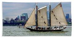Schooner On New York Harbor No. 1 Beach Towel