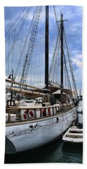 Schooner On The Dock Beach Sheet by Ron Grafe