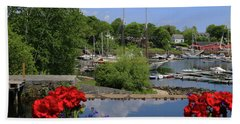 Schooners And Flowers, Camden, Maine Beach Sheet