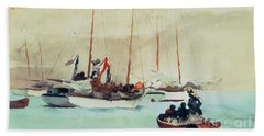 Schooners At Anchor In Key West Beach Towel