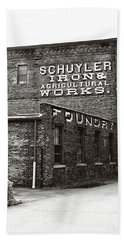 Beach Sheet featuring the photograph Schuyler Iron Building Black And White by Trina Ansel