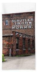Beach Towel featuring the photograph Schuyler Iron Building by Trina Ansel