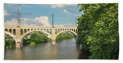 Schuylkill River At The Manayunk Bridge - Philadelphia Beach Sheet by Bill Cannon