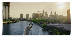 Beach Towel featuring the photograph Schuylkill River Walk At Sunrise by Bill Cannon