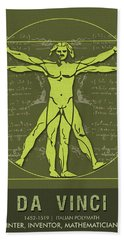 Science Posters - Leonardo Da Vinci - Artist, Inventor, Mathematician Beach Towel