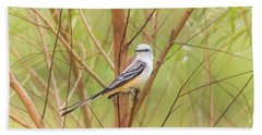 Beach Towel featuring the photograph Scissortail In Scrub by Robert Frederick