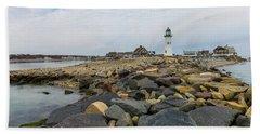Scituate Lighthouse And Cedar Point Beach Towel