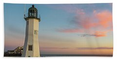 Scituate Lighthouse Scituate Massachusetts South Shore At Sunrise Beach Towel