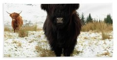 Scottish Black Highland Coo Beach Towel