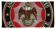 Scottish Rite Double-headed Eagle On Black Leather Beach Towel