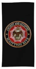 Scottish Rite Double-headed Eagle On Black Leather Beach Sheet