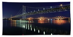 Scottish Steel In Silver And Gold Lights Across The Firth Of Forth At Night Beach Towel