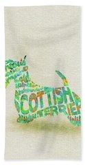 Scottish Terrier Dog Watercolor Painting / Typographic Art Beach Towel