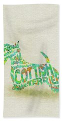 Beach Sheet featuring the painting Scottish Terrier Dog Watercolor Painting / Typographic Art by Inspirowl Design