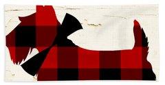Scottish Terrier Tartan Plaid Beach Towel