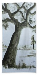 Beach Towel featuring the painting Scraggly Old Tree by Jack G Brauer
